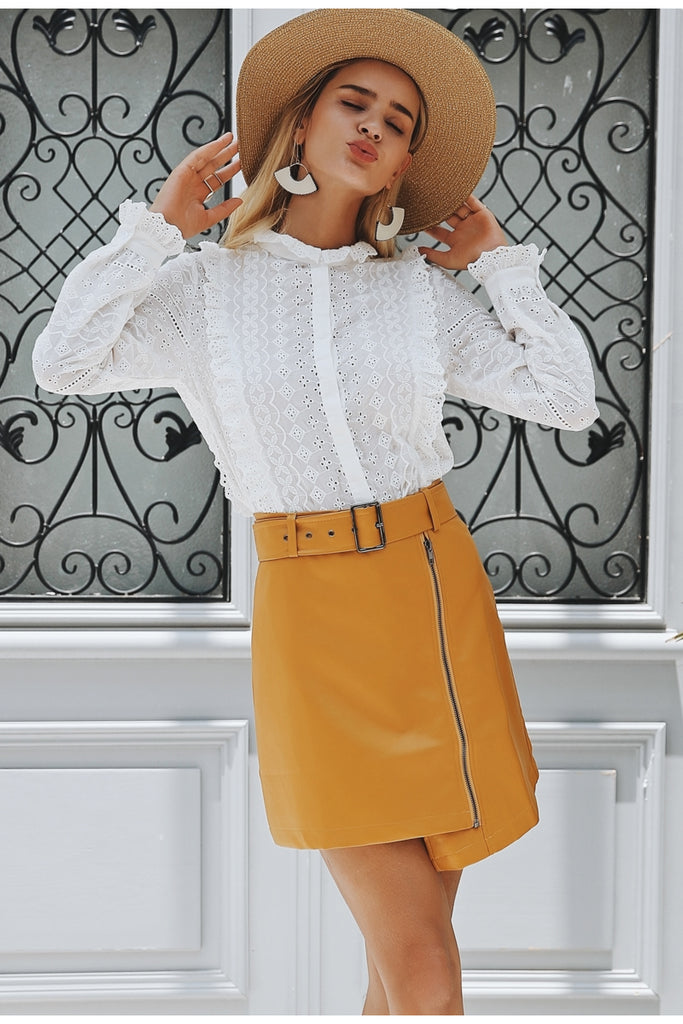 Embroidery lace hollow out blouse