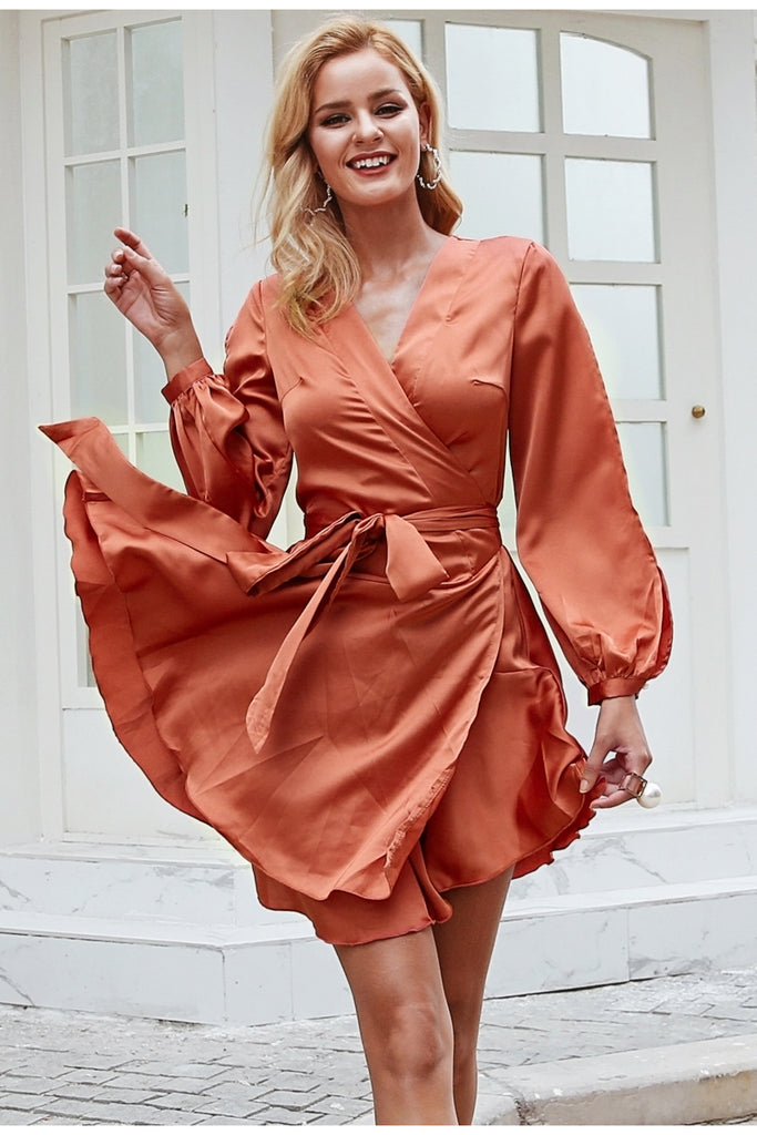 Ruffles V Neck Sash Flare Dress - luxuryandme.com