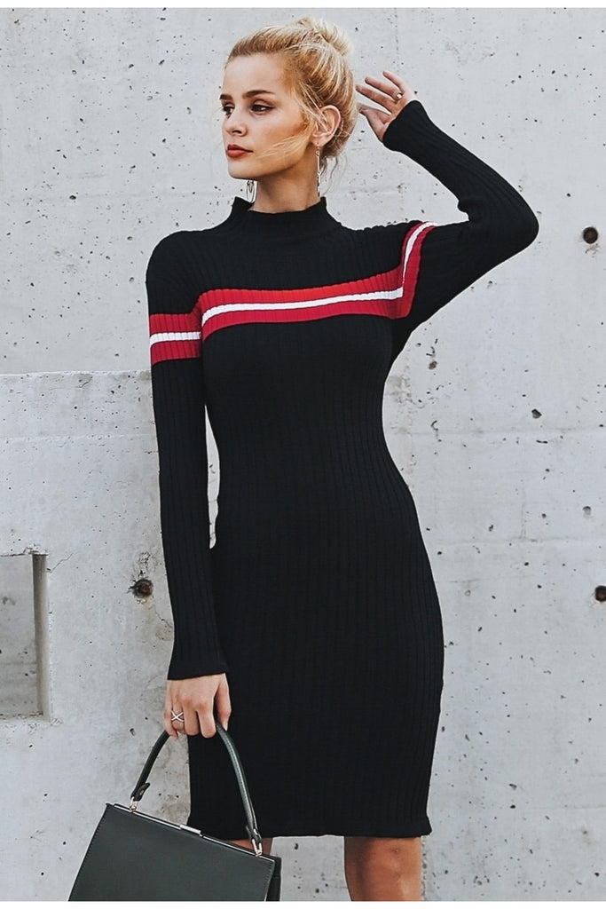 Knitted Stripe Turtleneck  Sweater Dress