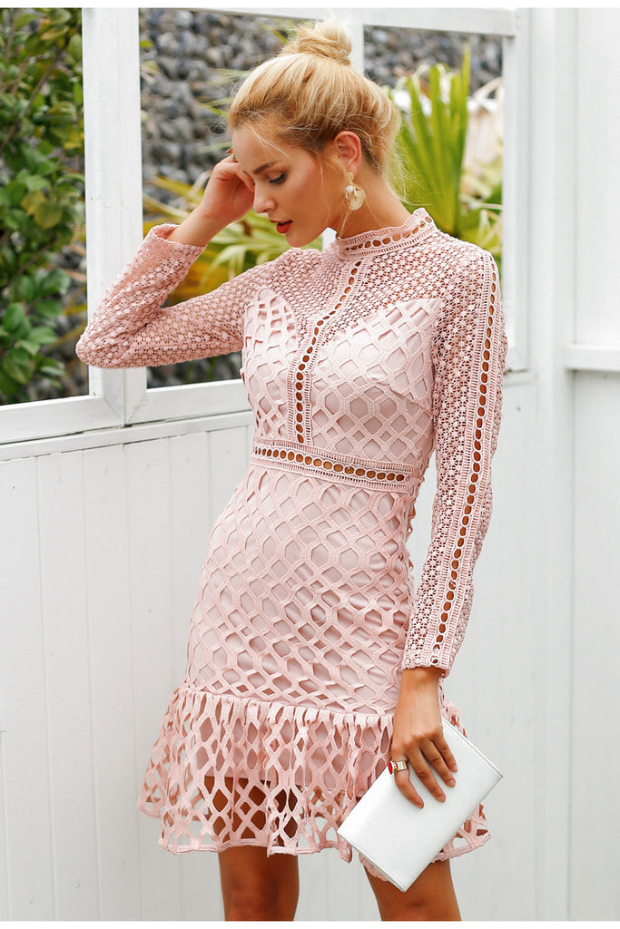 Elegant Sweet Ruffle Hollow Out Lace Dress - luxuryandme.com