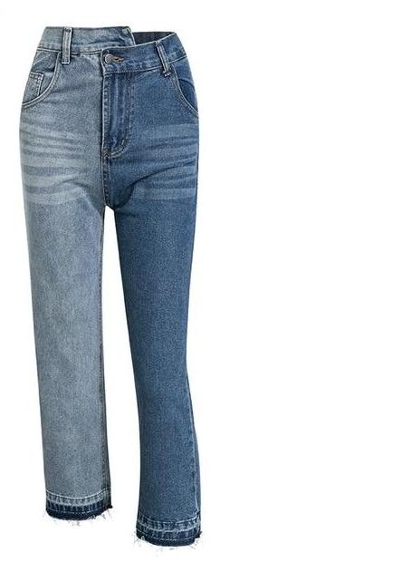 Patchwork Contrast Straight Wide Leg Denim Jeans - luxuryandme.com