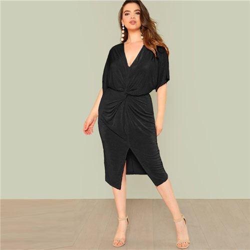 Black Twist Front Slit Batwing Dress