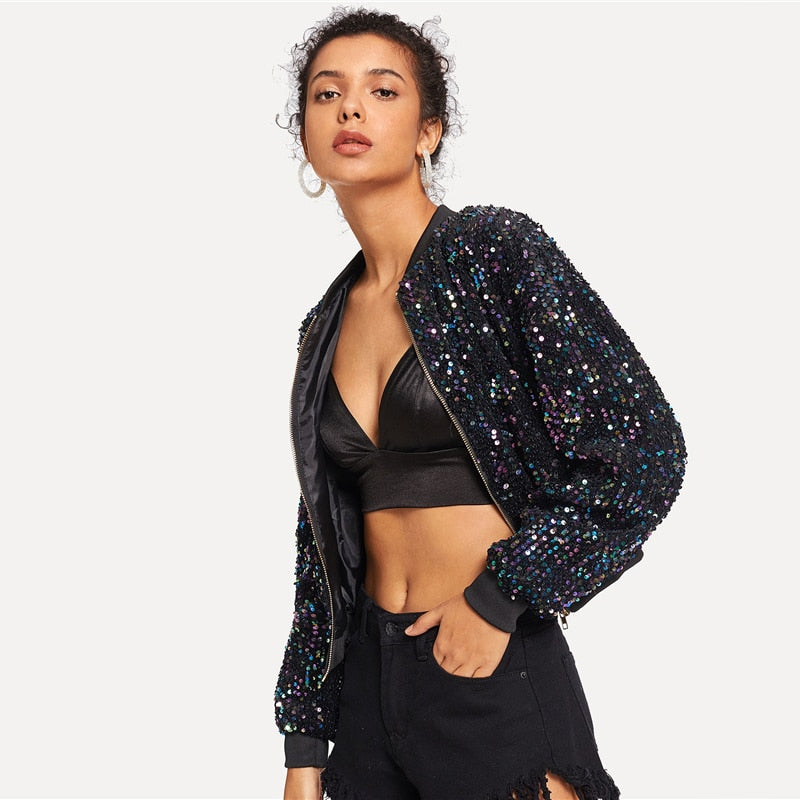 Black Solid Sequin Jacket - luxuryandme.com