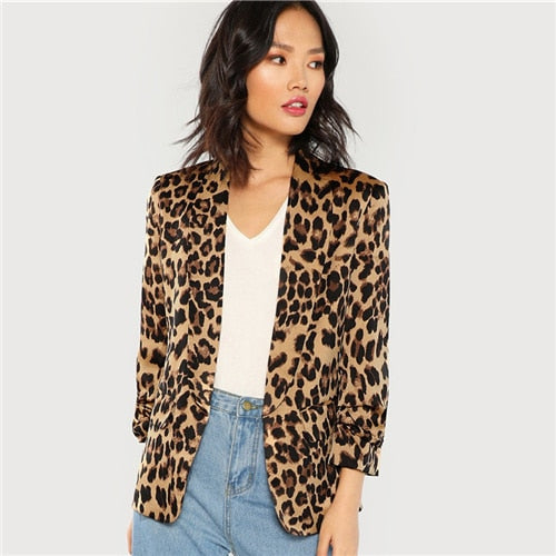 Shawl Collar Gathered Sleeve Leopard Print Blazer