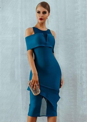 Off Shoulder Hollow Out  Midi Bodycon Dress