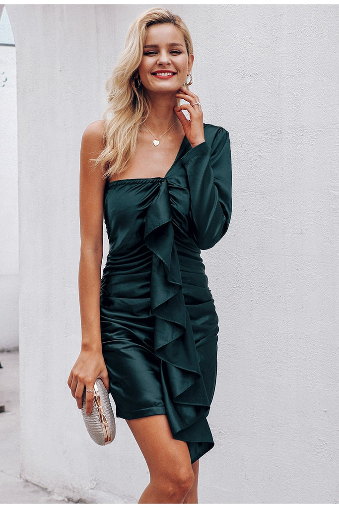 Olive Green Ruffles Satin One Shoulder Dress