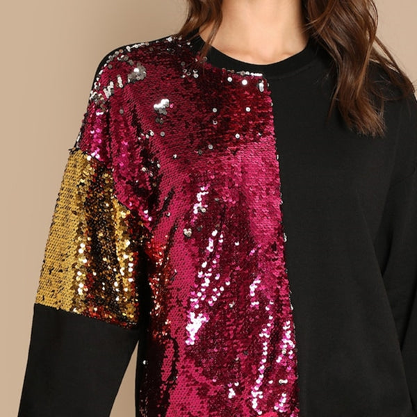 Color Block Sequin Sweat shirt