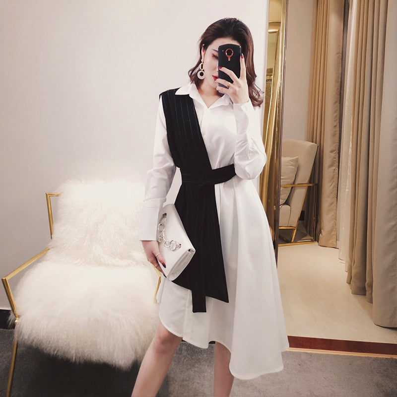 Two Piece Vest Belted High Waist Black and White Long Sleeve Shirt Dress