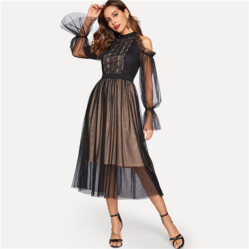 Black Cold Shoulder Lace Yoke Dot Mesh Ruffle Dress