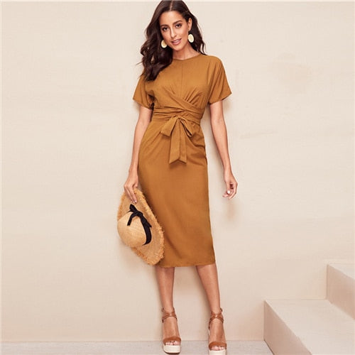 Elegant Tie Waist Pencil Dress