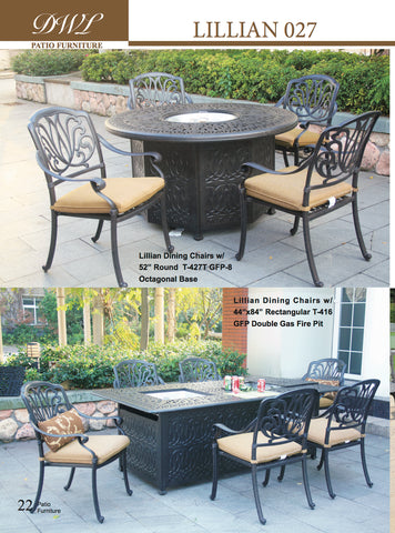 Lillian Double Gas Fire pit rectangular table and octagonal 52 round table with ice
