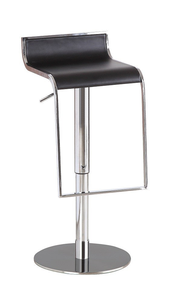 C027B-3 Black Leather Barstool