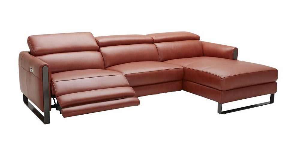 Nina Premium Leather Sectional In Right hand Facing