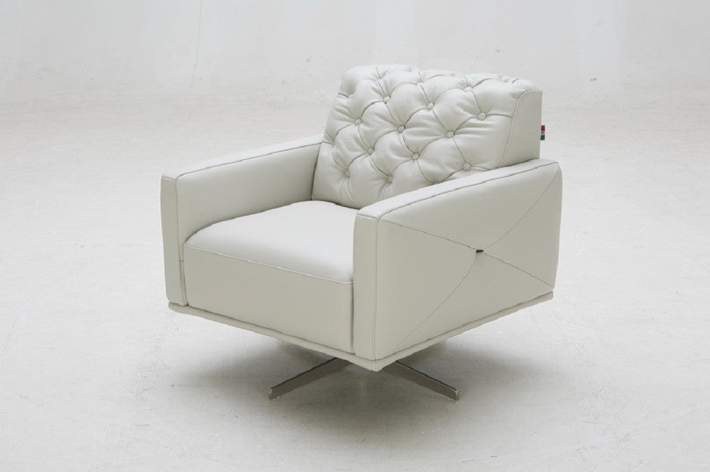 Othello Italian Leather Swivel Chair in Light Grey