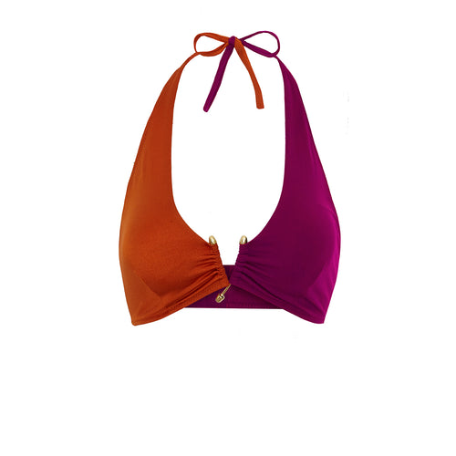 BIKINI TOP KATE (Shiny Copper Orange & Pink)