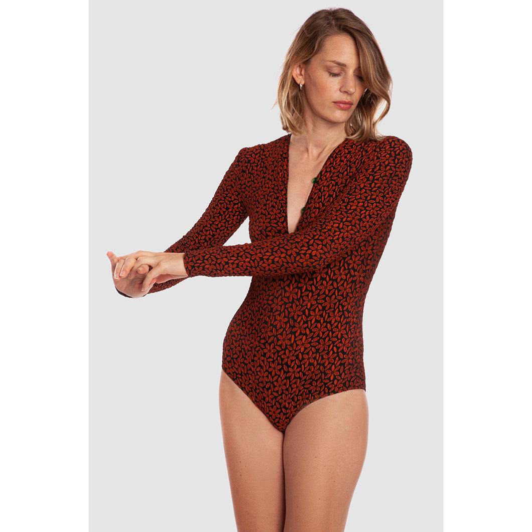 BODYSUIT GOA<br>(Daisy Jacquard Copper Orange)