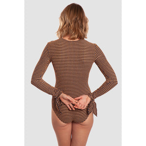BODYSUIT IDA (Seersucker Vichy Copper Orange)