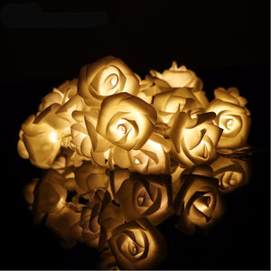 20-LED Rose Flower String Lights Rose Blossom Lamps for Wedding Christmas Decoration Battery Operated Fairy lights Warm White