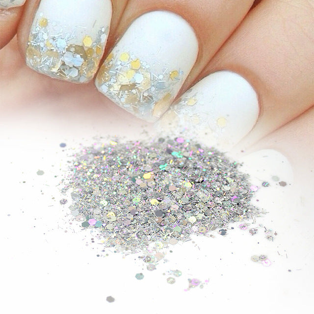 20G 3Colors AB/golden/silver Mix Nail Glitter Powder Hexagon Sequins ...