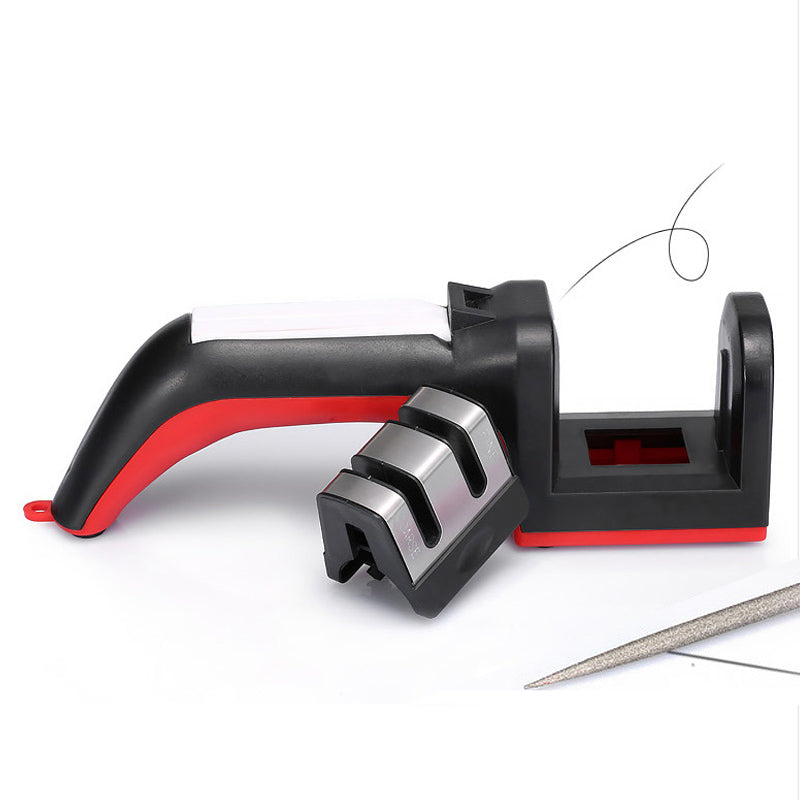 6 Functions Two Stages Diamond/Ceramic Kitchen Knife Sharpener/Sharpening  Stone Rod Household Tools