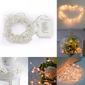 6m 60-LED Pearl Copper Wire String Light Warm White Fairy Lights for Craft Glass Bottle Valentines Wedding Decoration Christmas