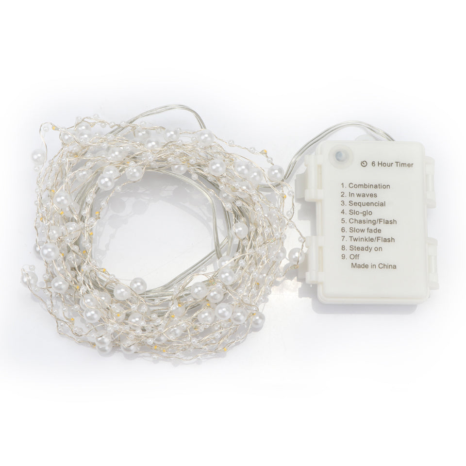 6m 60-LED Pearl Copper Wire String Light Warm White Fairy Lights for ...