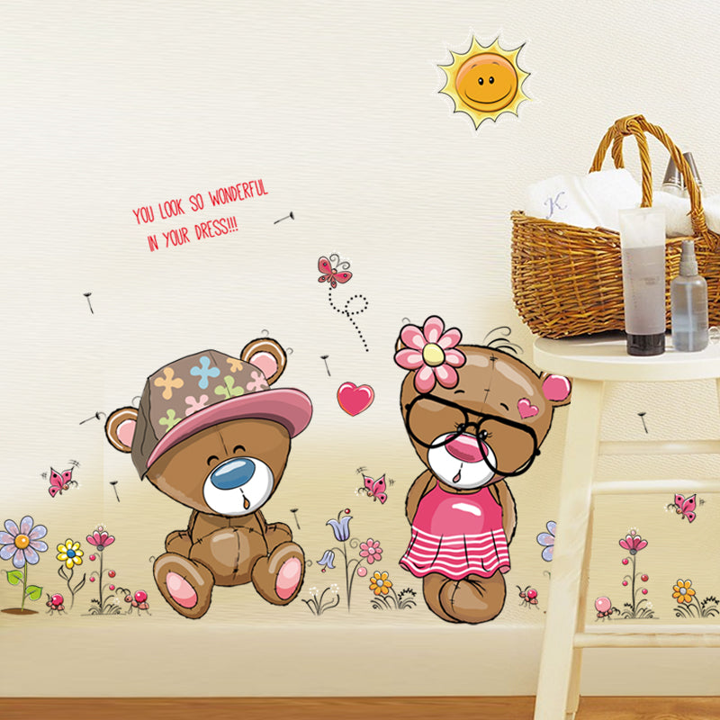 Bears Wall Sticker For Kids Room Home Decor Nursery Decal Children Poster Baby House