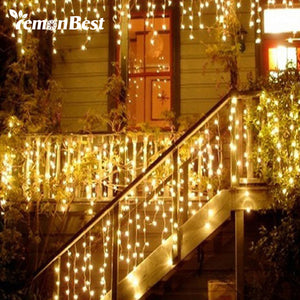 Christmas Lights Outdoor Decoration 4m Droop 0.3-0.5m Led Curtain Icicle String Lights New Year Wedding Party Garland Light