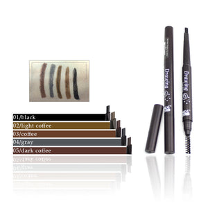 Eyebrow Pencil with Brush Double Head Automatic makeup durable Waterproof sweatproof non-blooming effect