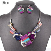 Fashion Jewelry Sets Silver Plated Purple/Leopard/Blue/Gray Colors Unique Design Party Gifts High Quality