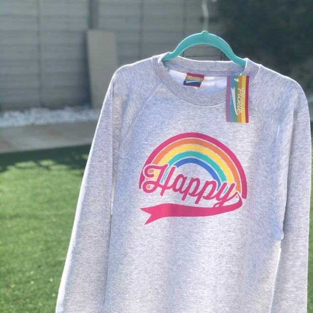 HAPPY SWEATSHIRT- Five Stripe Rainbow Pink