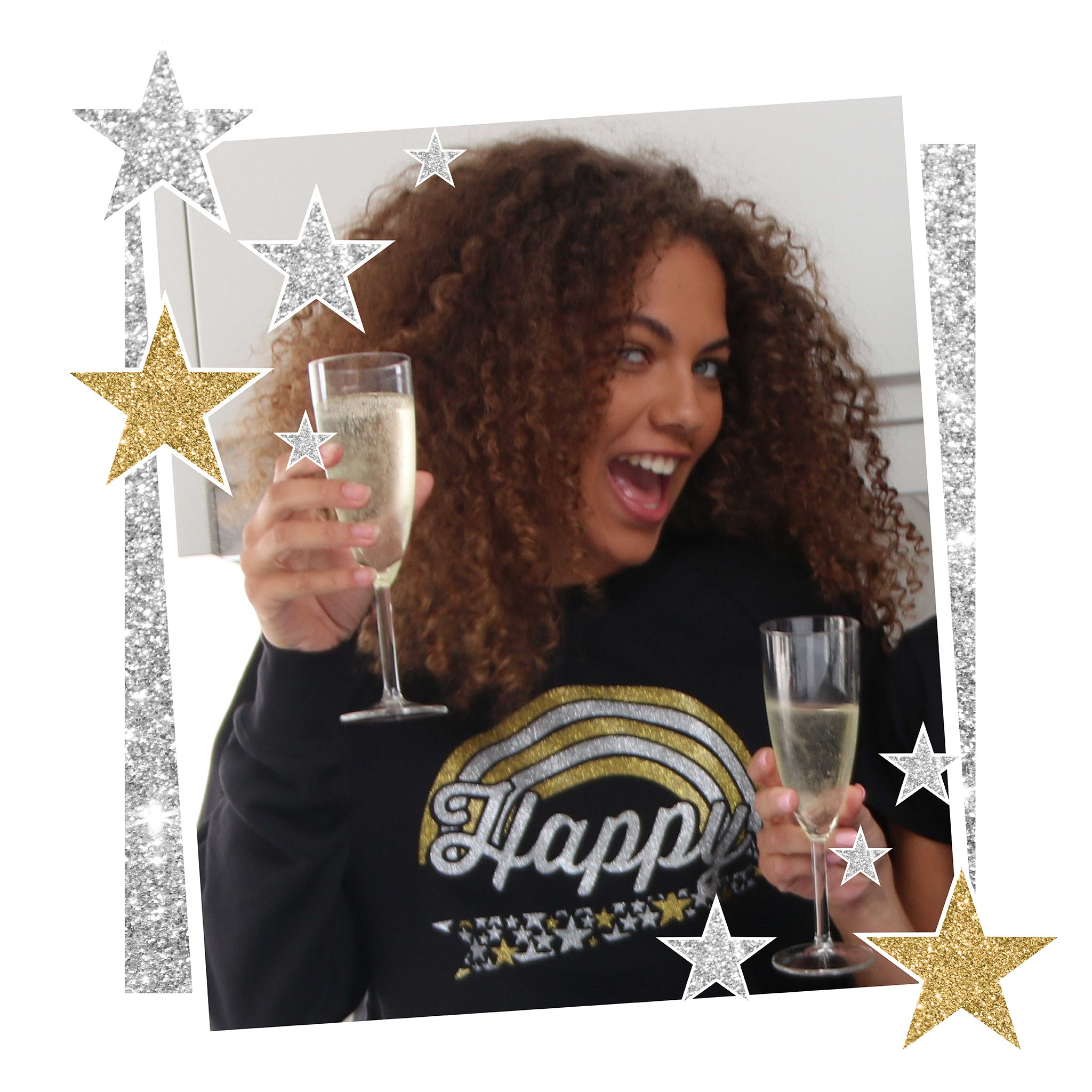Limited Edition - HAPPY SWEATSHIRT - Gold / Silver Glitter