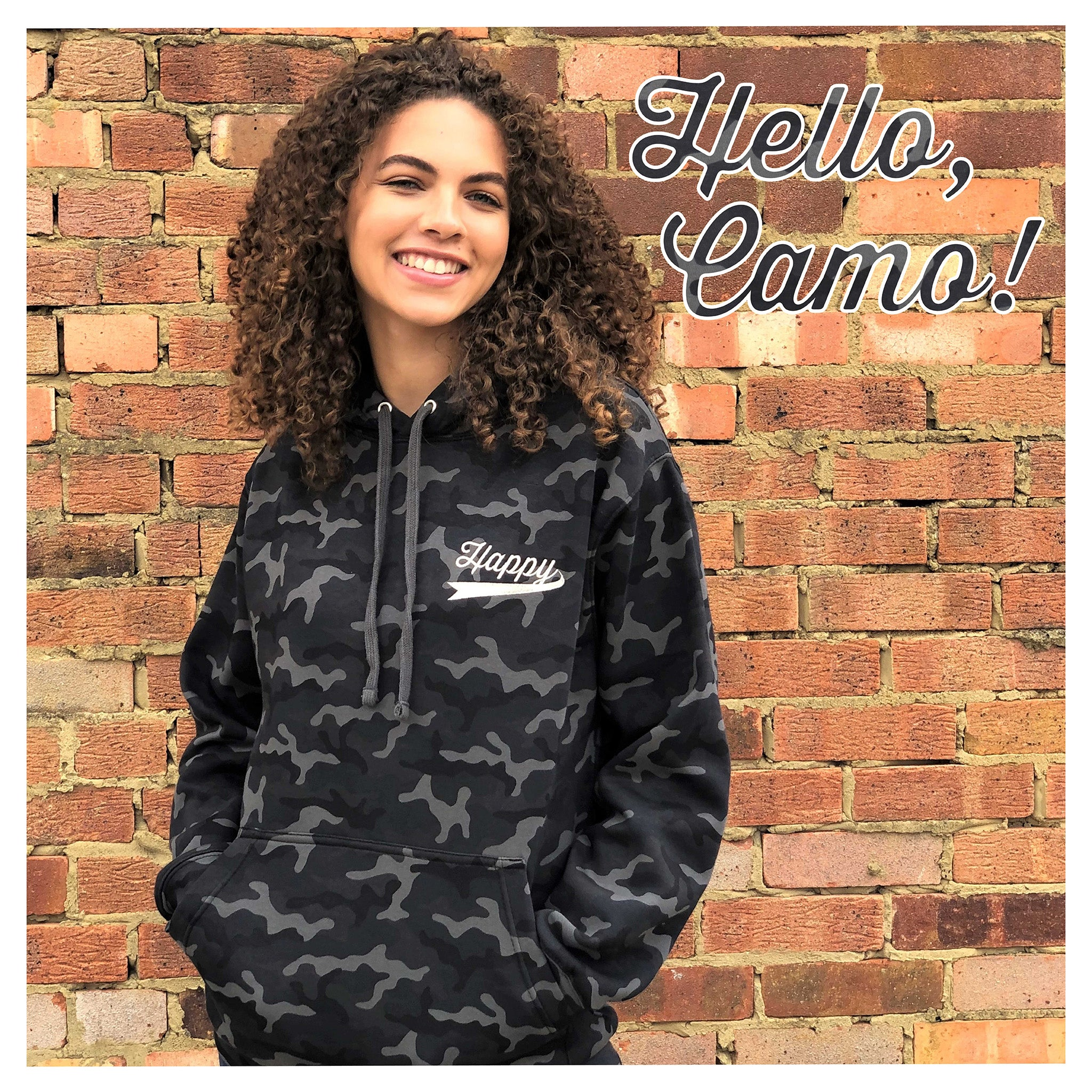 HAPPY HOODIE - Camo Grey with Silver
