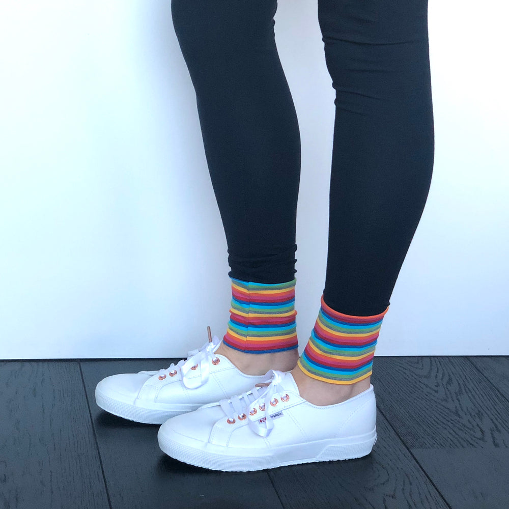 LEGGINGS -Navy/Rainbow Cuff