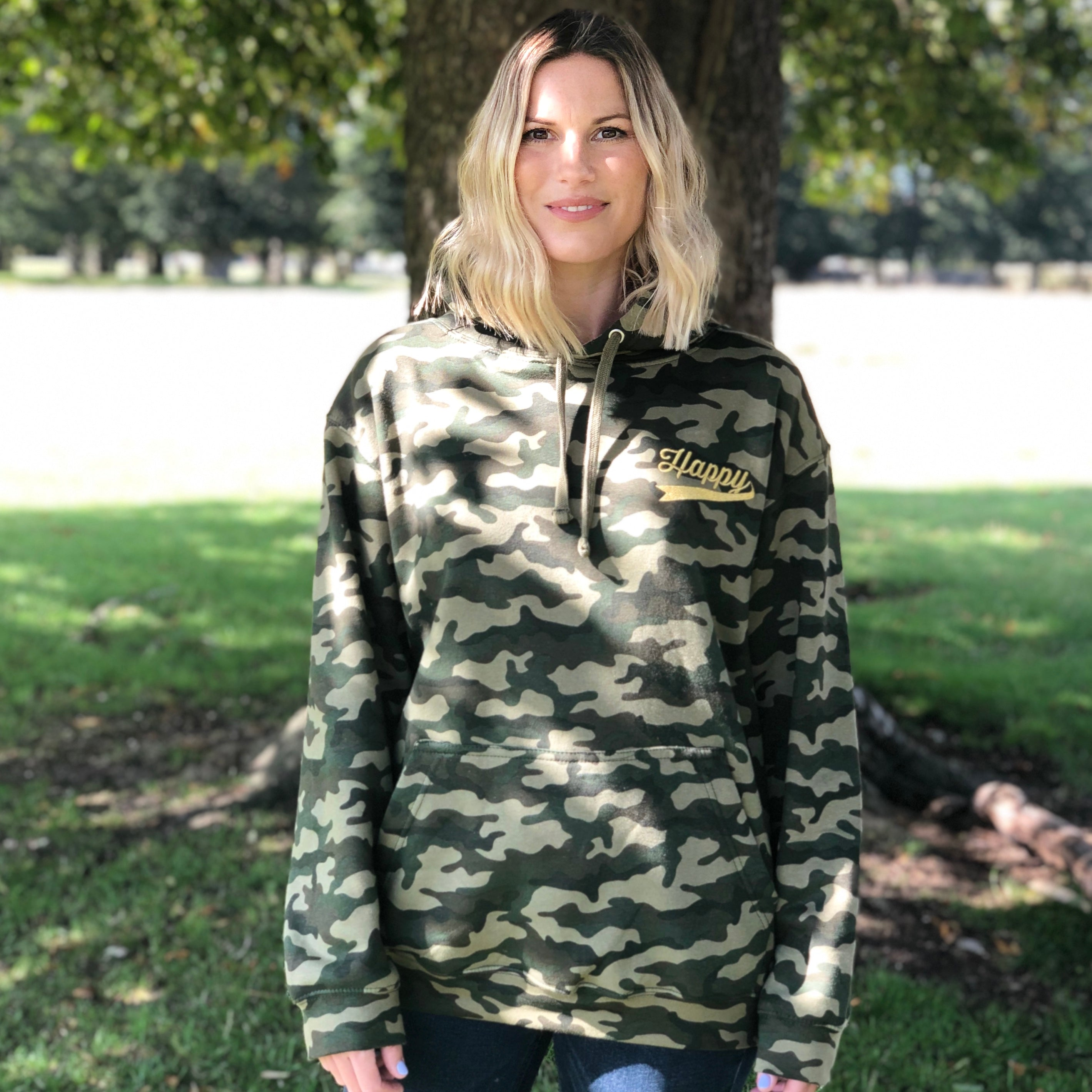 HAPPY HOODIE - Camo Green with Gold