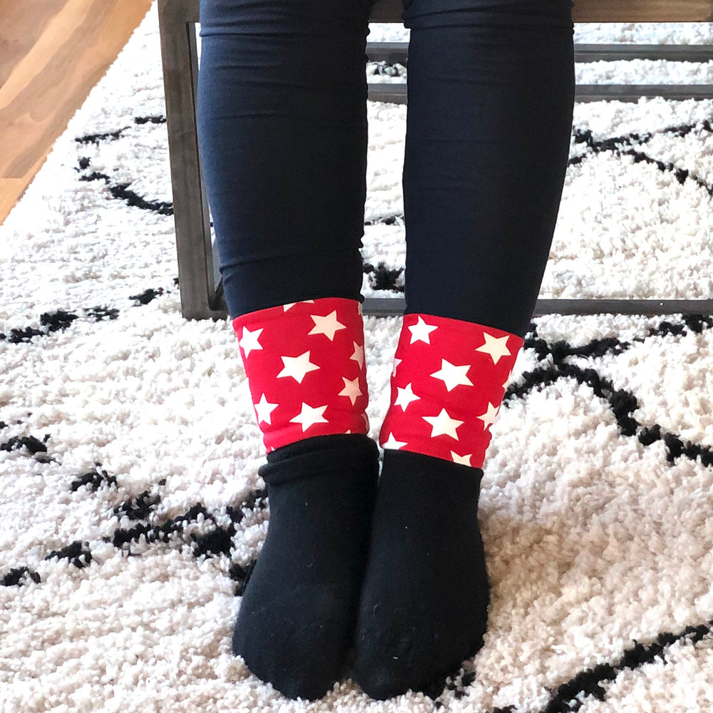 LEGGINGS - Navy/Red Stars Cuff