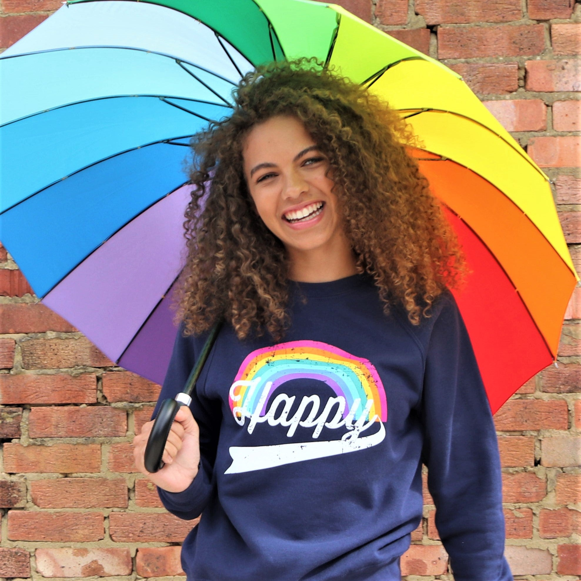 HAPPY SWEATSHIRT – Rainbow / Navy
