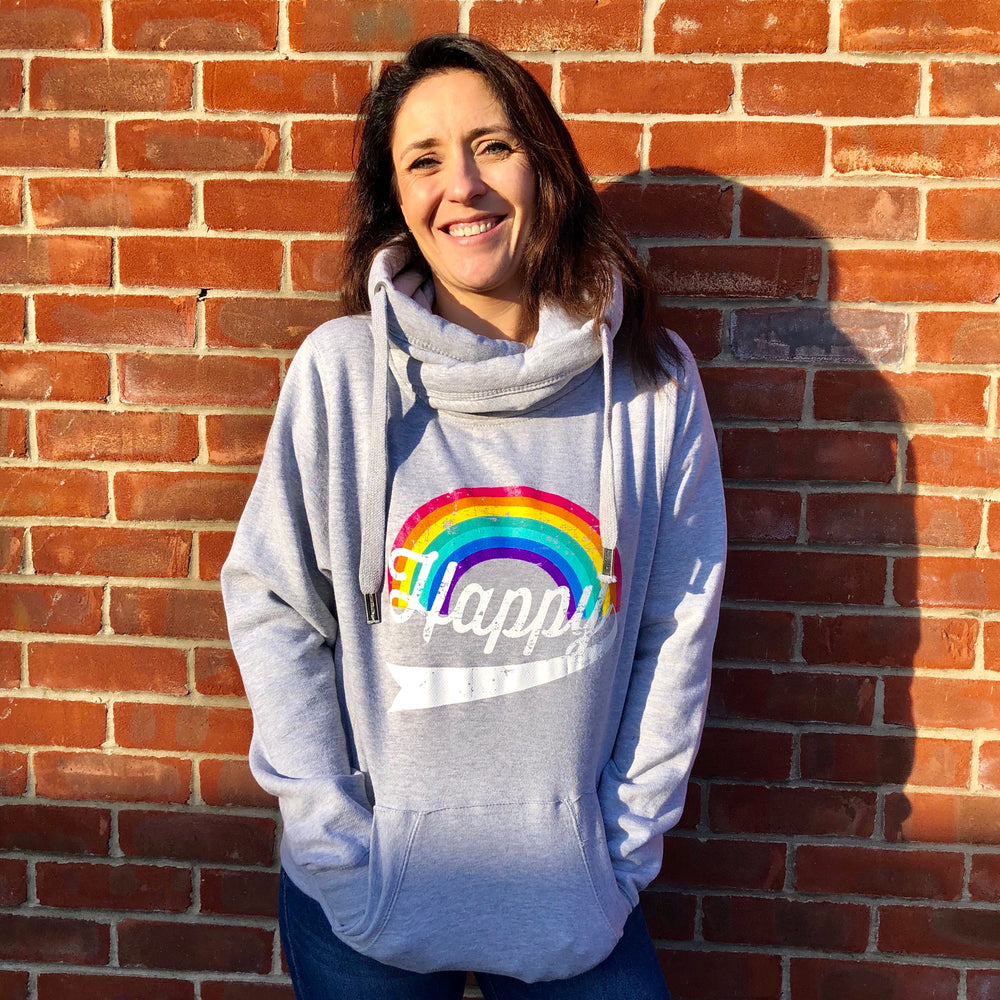 HAPPY HOODIE - Classic Rainbow / Grey