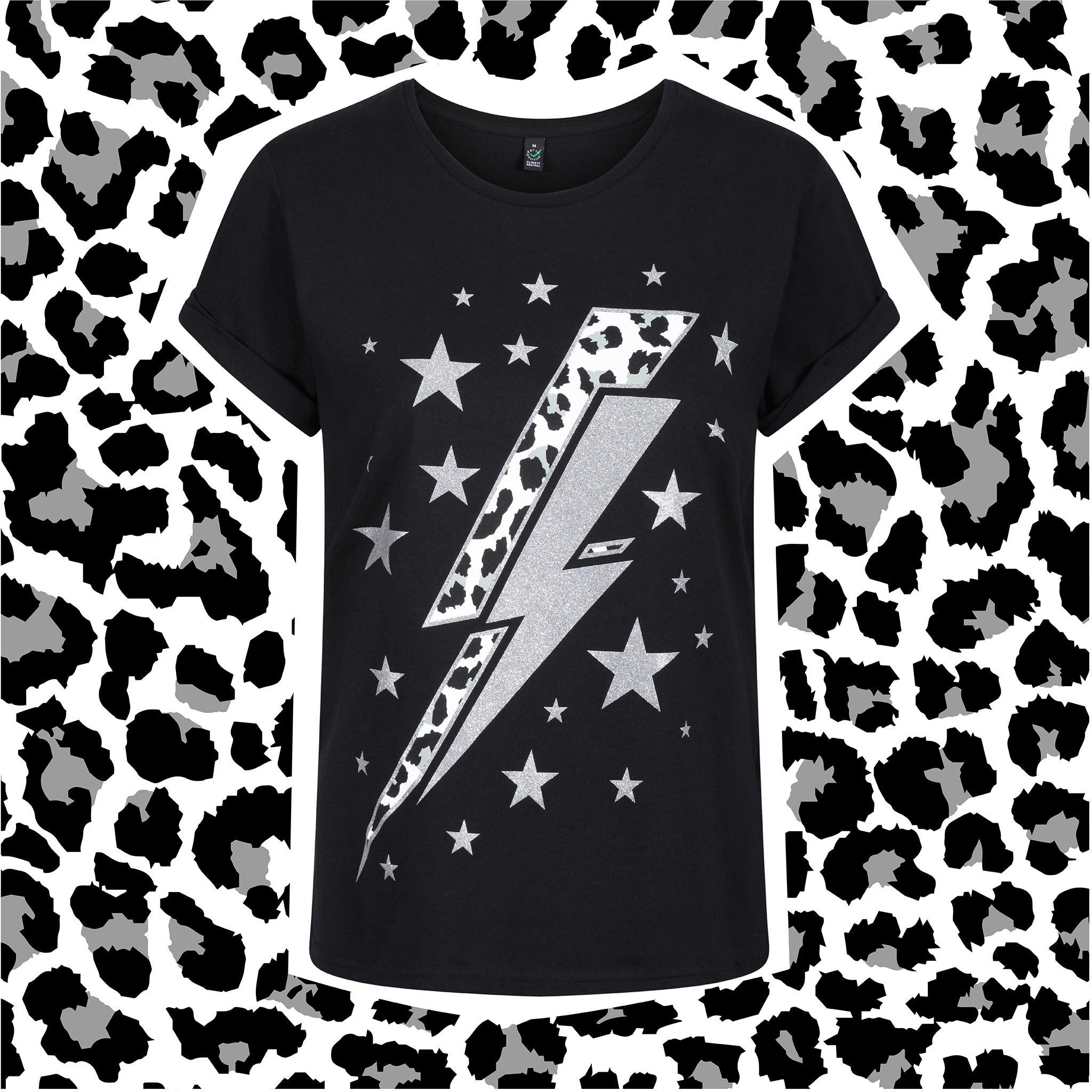 The GLITTER LEOPARD LIGHTNING BOLT Top