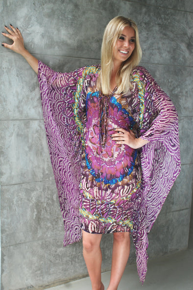 Purple Pure Silk Emballished Poncho Tunic Kaftan with swirl print and beading.  Available in Medium
