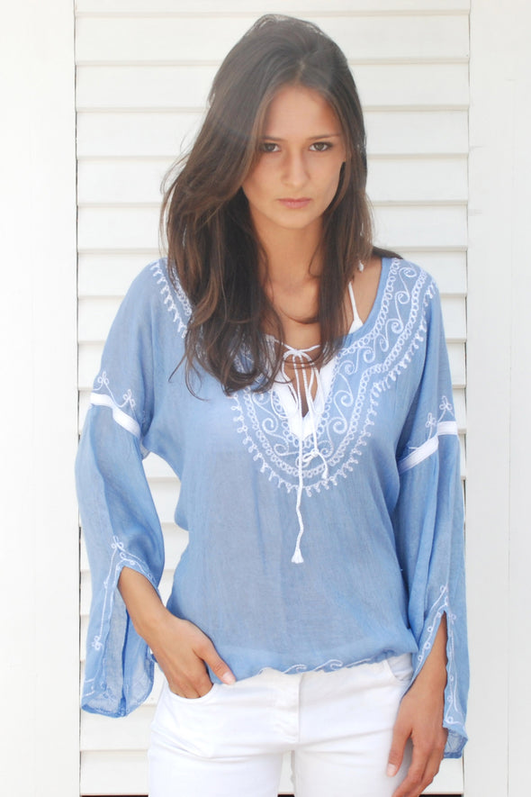 Classic boho luxe kaftan top in mid blue with white embroidery.  Optional tie at neckline and waist.  One size fits most