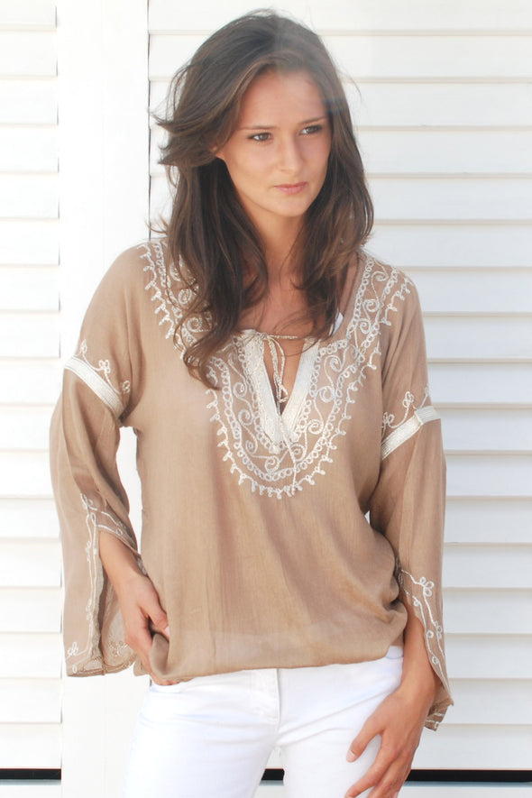 Classic designer beachwear kaftan top in taupe with golden shimmer embroidery.  One size fits most ranging from size 8 to size 16
