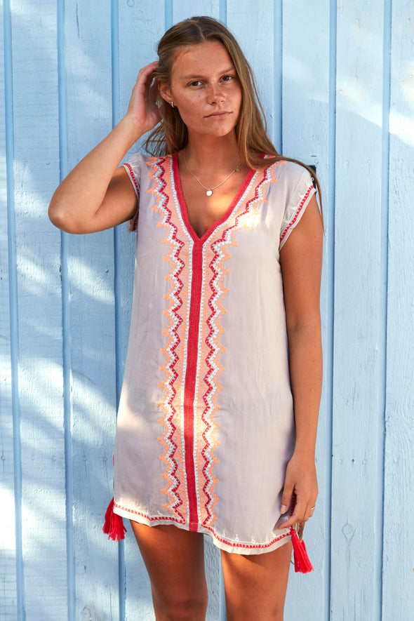Women's kaftan style beach dress in taupe with orange and red detail.  Pretty cap sleeves.  Available in 2 sizes.