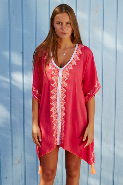 Poncho tunic dress in stunning red with orange embroidery.  Available in 2 sizes.