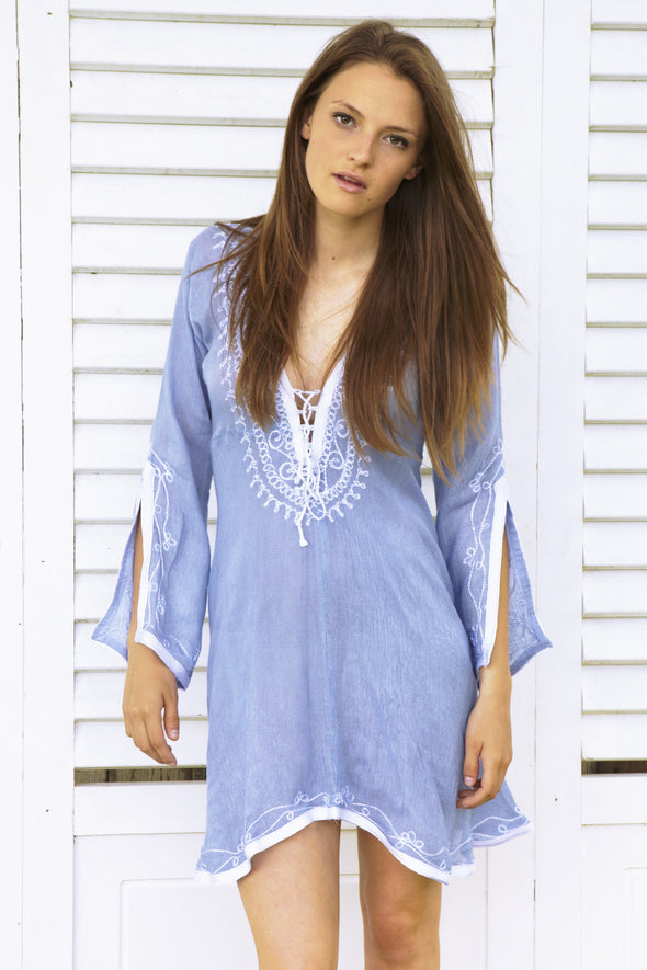 Mid Length Blue Kaftan Dress with White Embroidery and a deep neckline