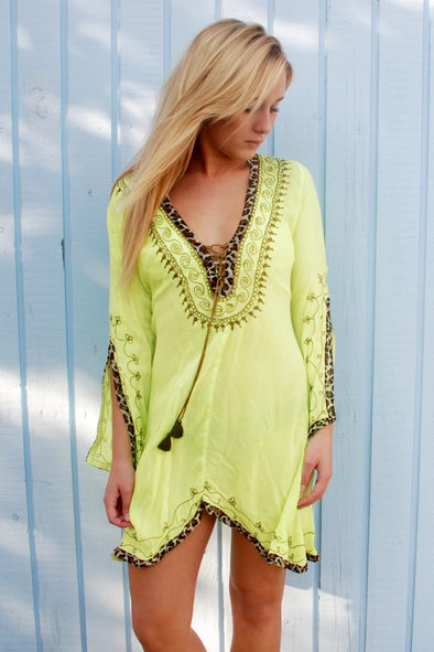 Fluorescent kaftan beach dress with leopard print binding to neckline