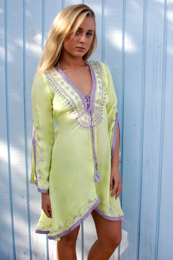 Designer Beachwear Kaftan Dress in fluorescent with lilac embroidery 2 sizes available
