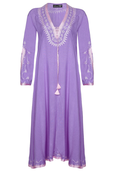 Purple Amber Maxi Kaftan Dress in full length.  Pink stitching to neckline and sleeves.  One size fits most.