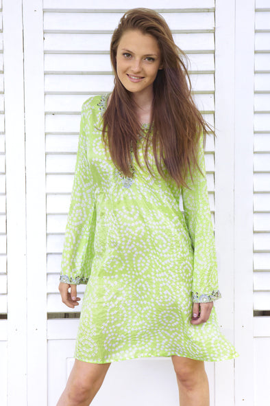 Silk Bandhini embellished v-neck kaftan dress.  Perfect as eveningwear,  One size fits size 8 to 12