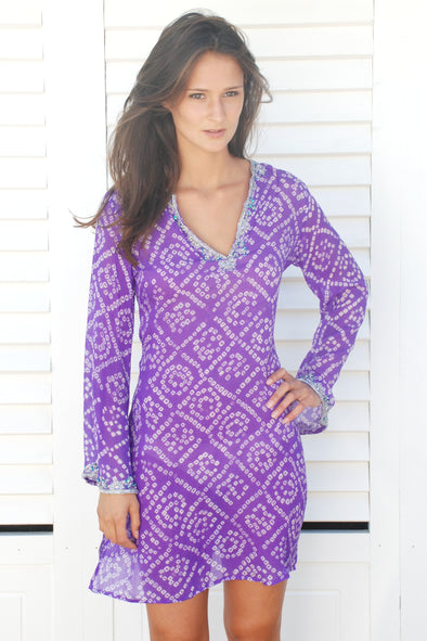 Silk Bandhini Kaftan in Purple